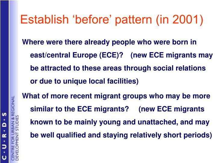 Establish 'before' pattern (in 2001)