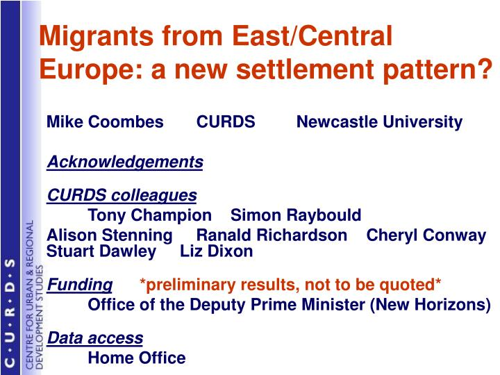 Migrants from east central europe a new settlement pattern