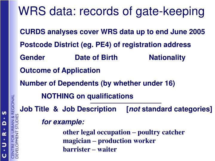 WRS data: records of gate-keeping