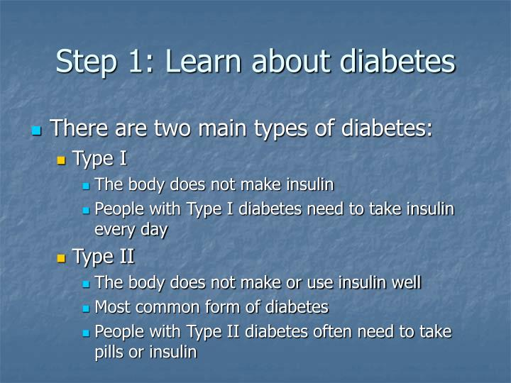 Step 1: Learn about diabetes
