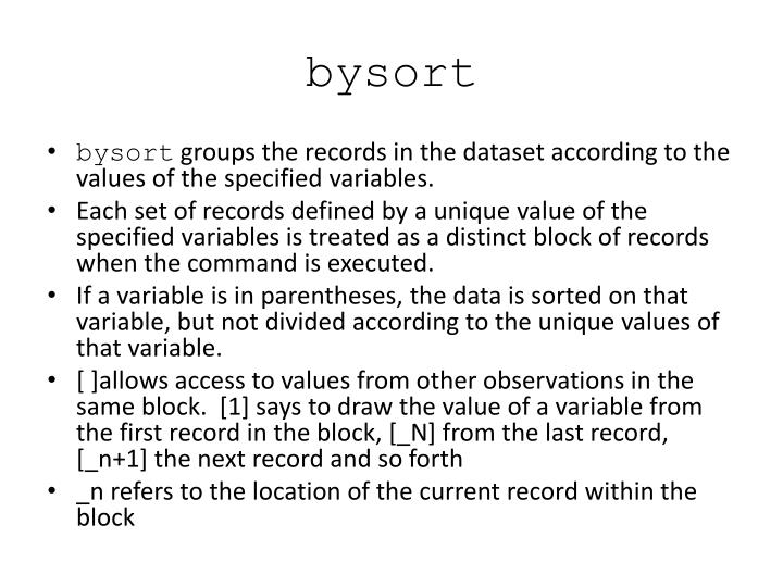 bysort