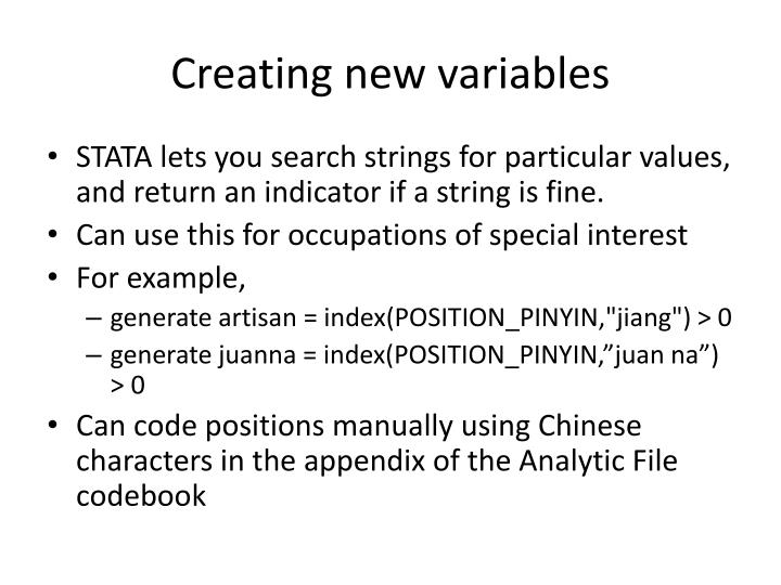 Creating new variables