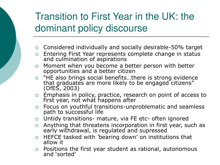 Transition to First Year in the UK: the dominant policy discourse