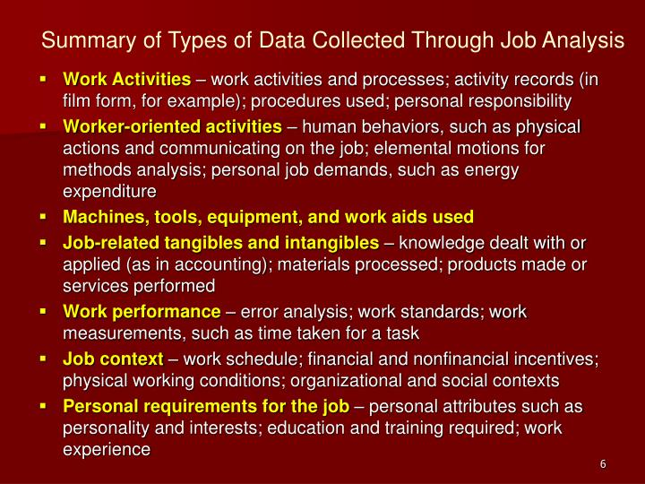 Summary of Types of Data Collected Through Job Analysis