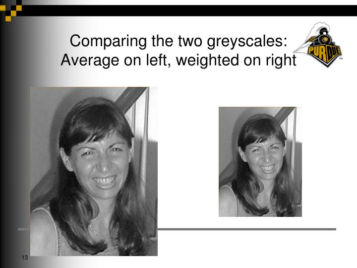 Comparing the two greyscales: