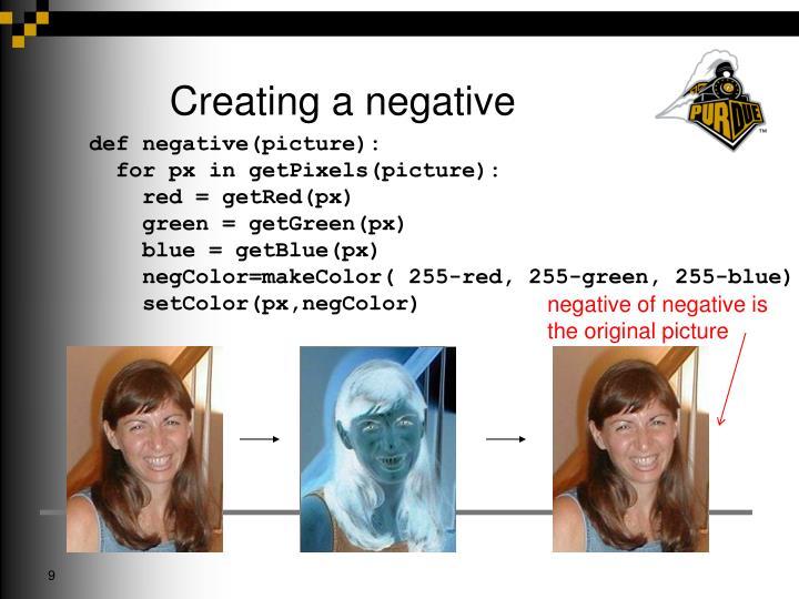 Creating a negative