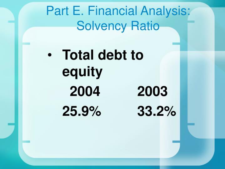 Part E. Financial Analysis: Solvency Ratio