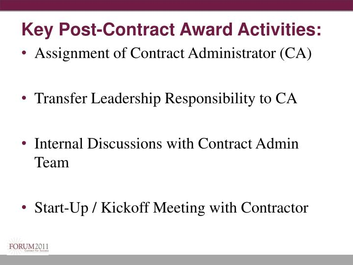 Key Post-Contract Award Activities: