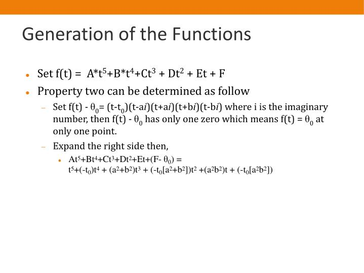 Generation of the Functions