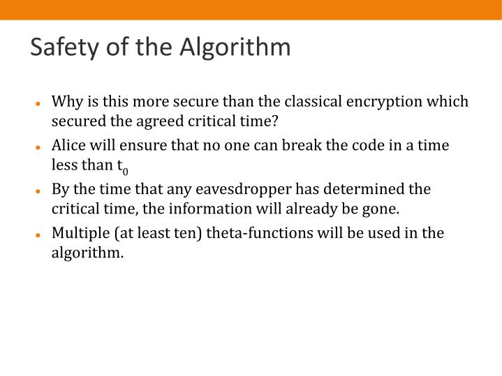 Safety of the Algorithm