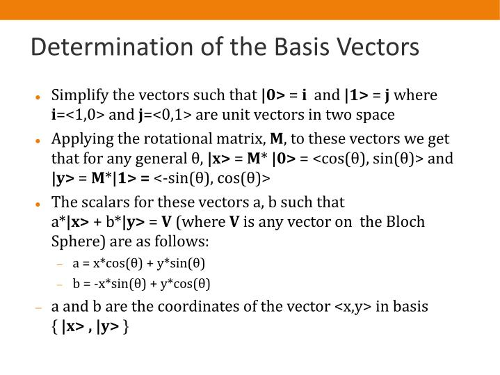 Determination of the Basis Vectors