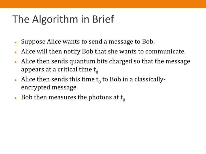 The Algorithm in Brief