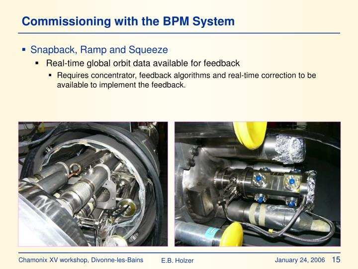 Commissioning with the BPM System