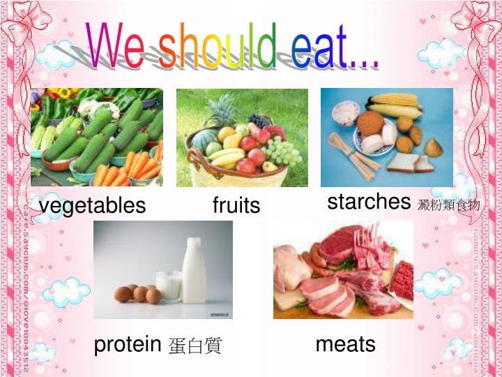 We should eat...