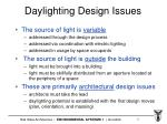 daylighting design issues