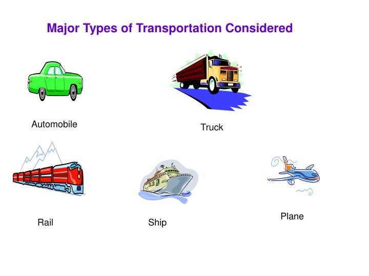 Major Types of Transportation Considered