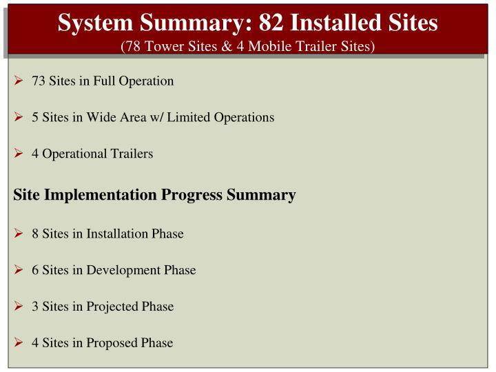 System Summary: 82 Installed Sites