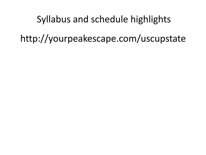 syllabus and schedule highlights n.