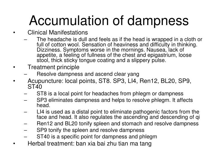 Accumulation of dampness