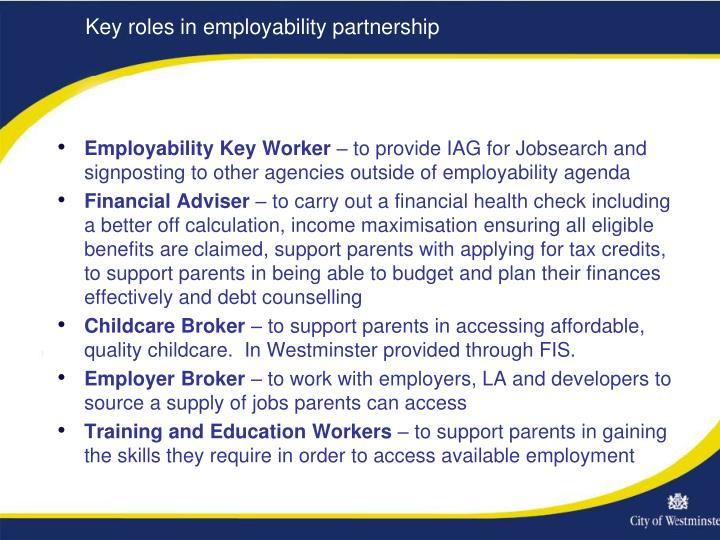 Key roles in employability partnership