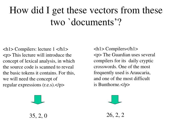 How did I get these vectors from these two `documents'?