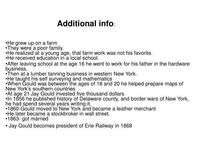 Additional info