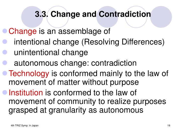 3.3. Change and Contradiction