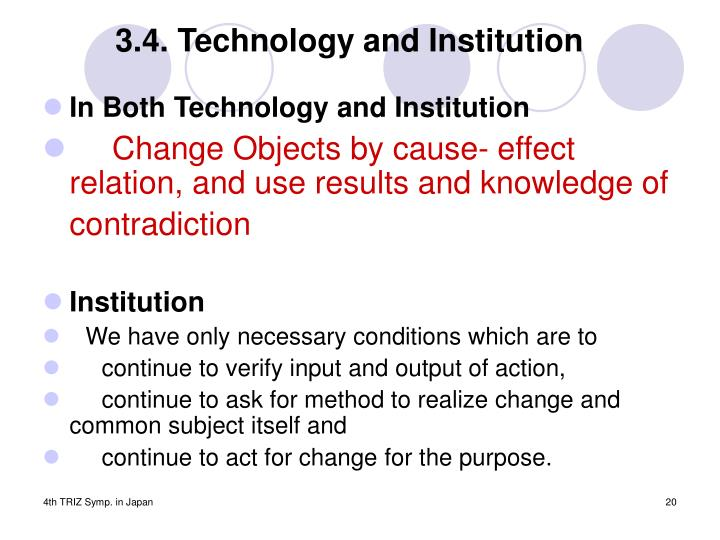 3.4. Technology and Institution