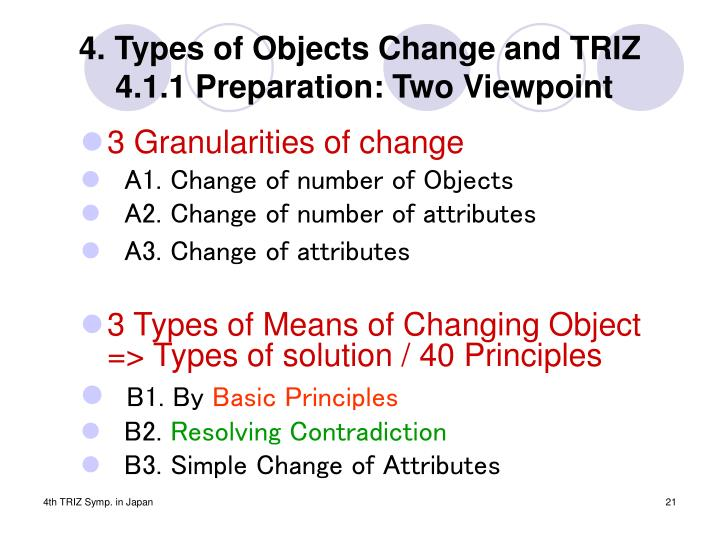 4. Types of Objects Change and TRIZ