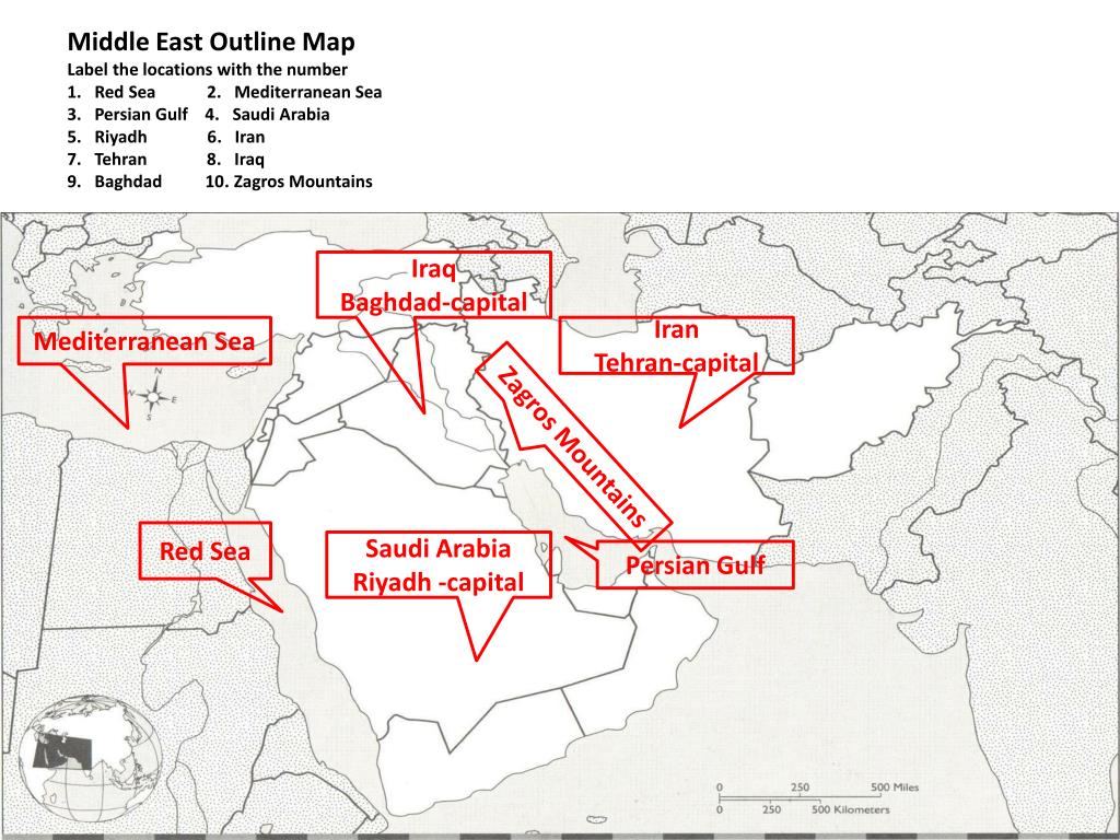 PPT - Middle East Outline Map Directions : Label the locations with