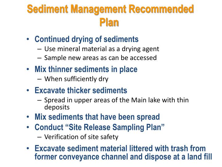 Sediment Management Recommended Plan