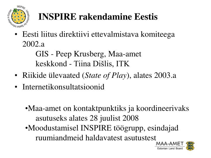 INSPIRE rakendamine Eestis