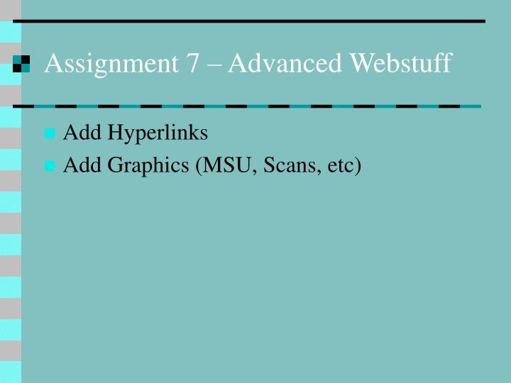 Assignment 7 – Advanced Webstuff