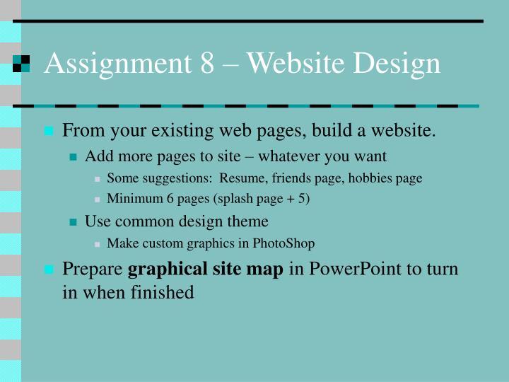Assignment 8 – Website Design