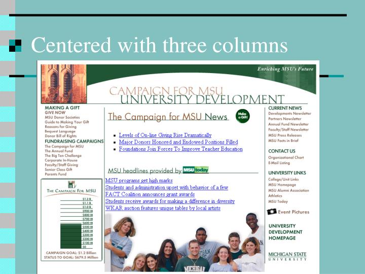 Centered with three columns
