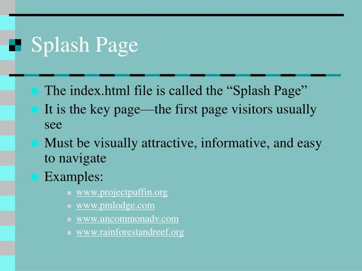 Splash Page