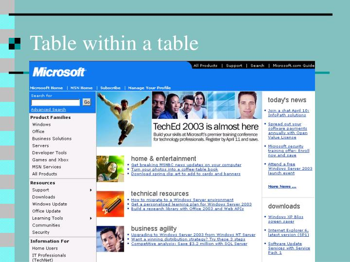 Table within a table