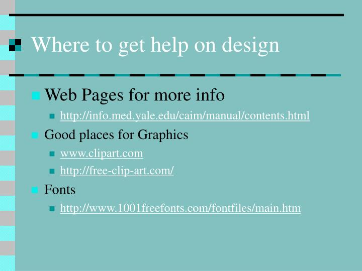 Where to get help on design