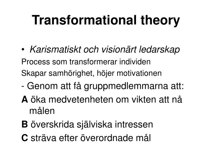 Transformational theory