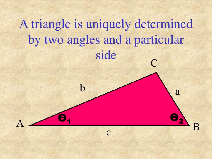 A triangle is uniquely determined by two angles and a particular side