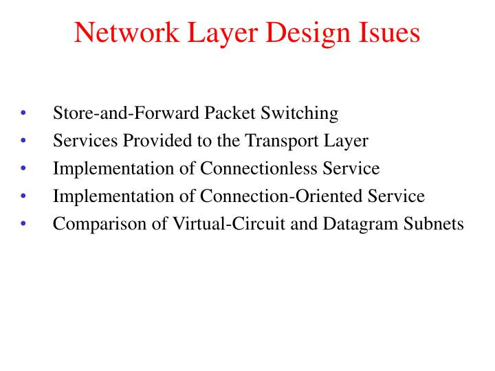 Network layer design isues