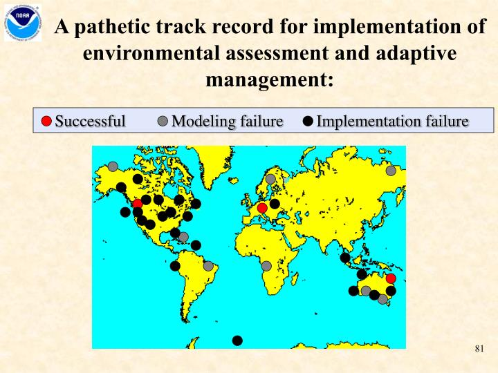 A pathetic track record for implementation of environmental assessment and adaptive management: