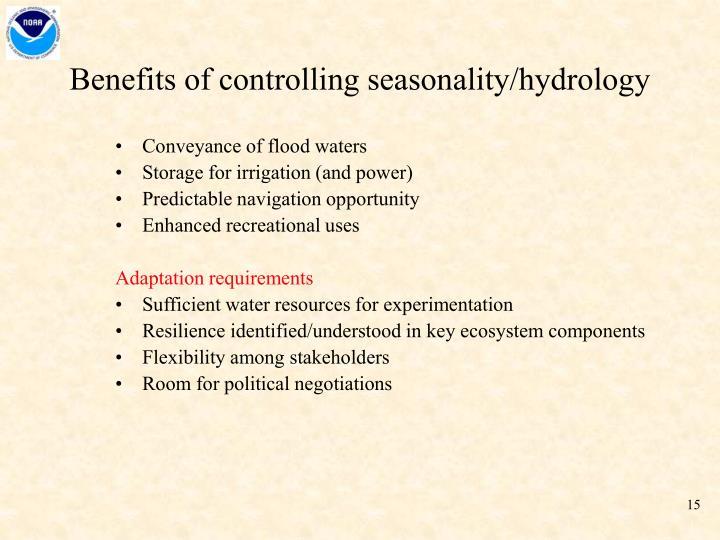 Benefits of controlling seasonality/hydrology