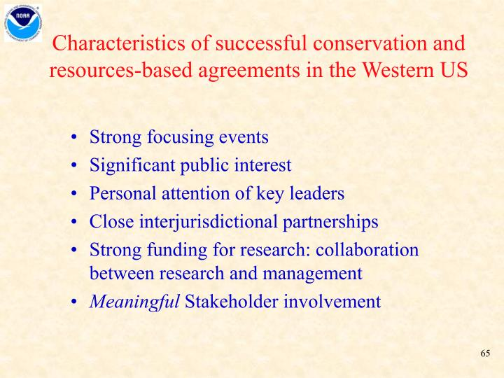 Characteristics of successful conservation and resources-based agreements in the Western US