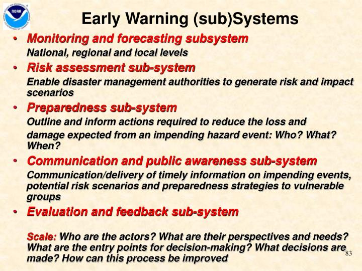 Early Warning (sub)Systems