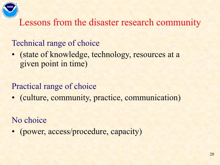 Lessons from the disaster research community