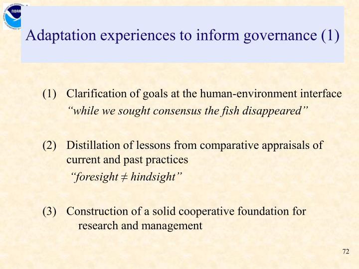 Adaptation experiences to inform governance (1)