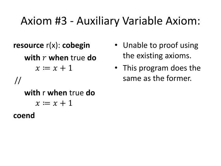 Axiom #3 - Auxiliary Variable Axiom: