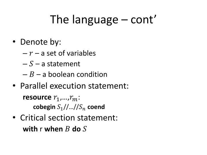 The language –