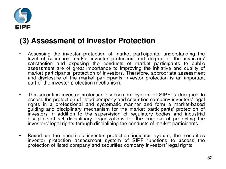 (3) Assessment of Investor Protection